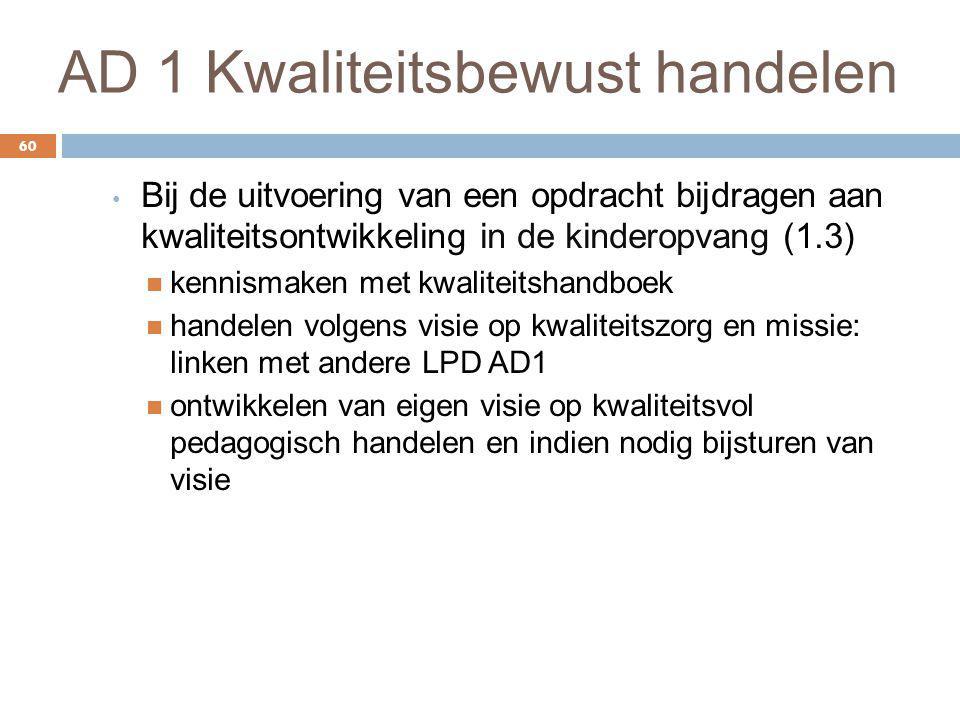 AD 1 Kwaliteitsbewust handelen 60 Bij de uitvoering van een opdracht bijdragen aan kwaliteitsontwikkeling in de kinderopvang (1.3) kennismaken met kwa