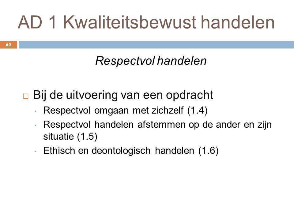 AD 1 Kwaliteitsbewust handelen 62 Respectvol handelen  Bij de uitvoering van een opdracht Respectvol omgaan met zichzelf (1.4) Respectvol handelen af