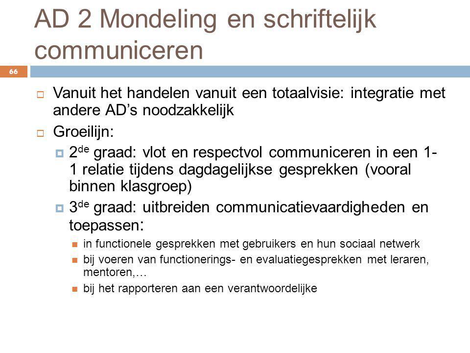 AD 2 Mondeling en schriftelijk communiceren 66  Vanuit het handelen vanuit een totaalvisie: integratie met andere AD's noodzakkelijk  Groeilijn:  2