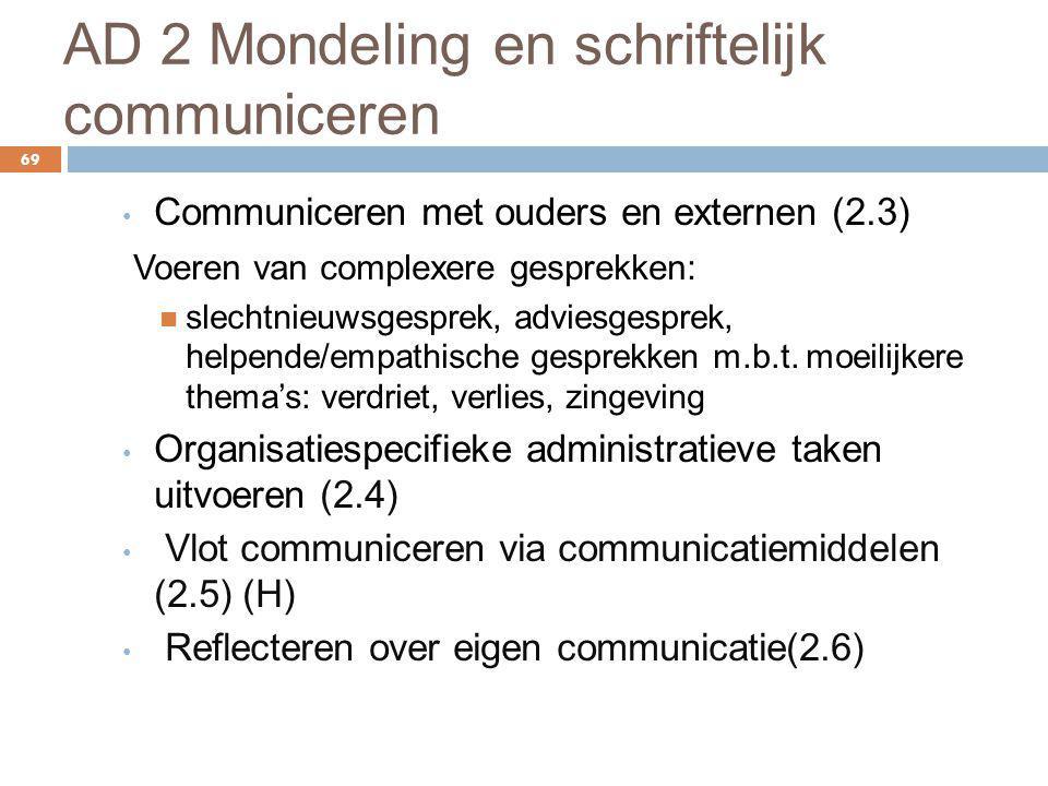 AD 2 Mondeling en schriftelijk communiceren 69 Communiceren met ouders en externen (2.3) Voeren van complexere gesprekken: slechtnieuwsgesprek, advies