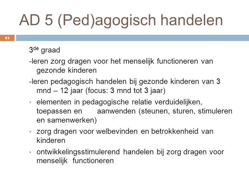 AD 5 (Ped)agogisch handelen 82 3 de graad -leren zorg dragen voor het menselijk functioneren van gezonde kinderen -leren pedagogisch handelen bij gezo
