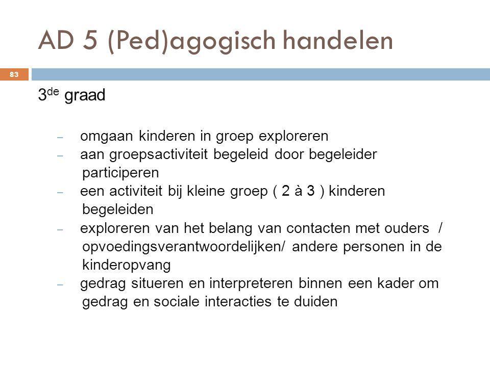 AD 5 (Ped)agogisch handelen 83 3 de graad – omgaan kinderen in groep exploreren – aan groepsactiviteit begeleid door begeleider participeren – een act