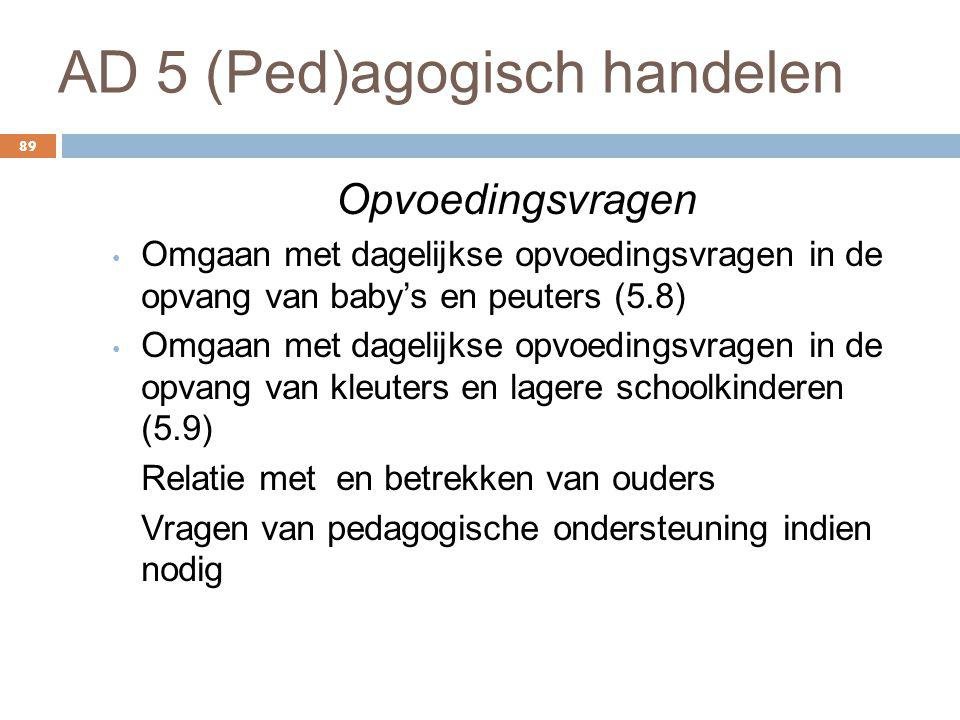 AD 5 (Ped)agogisch handelen 89 Opvoedingsvragen Omgaan met dagelijkse opvoedingsvragen in de opvang van baby's en peuters (5.8) Omgaan met dagelijkse