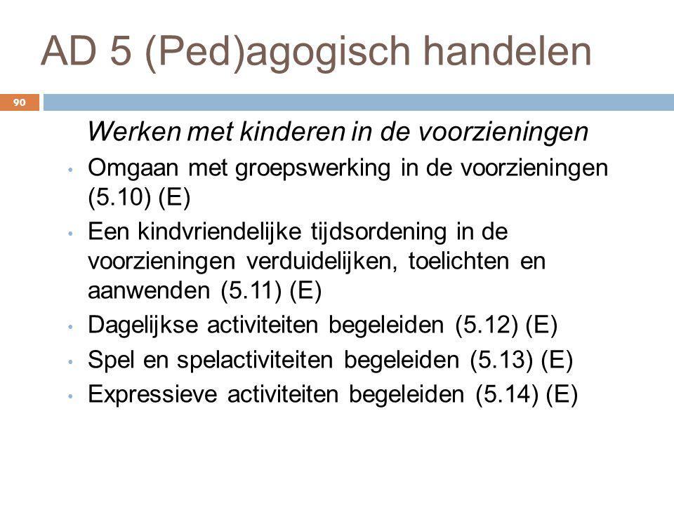 AD 5 (Ped)agogisch handelen 90 Werken met kinderen in de voorzieningen Omgaan met groepswerking in de voorzieningen (5.10) (E) Een kindvriendelijke ti