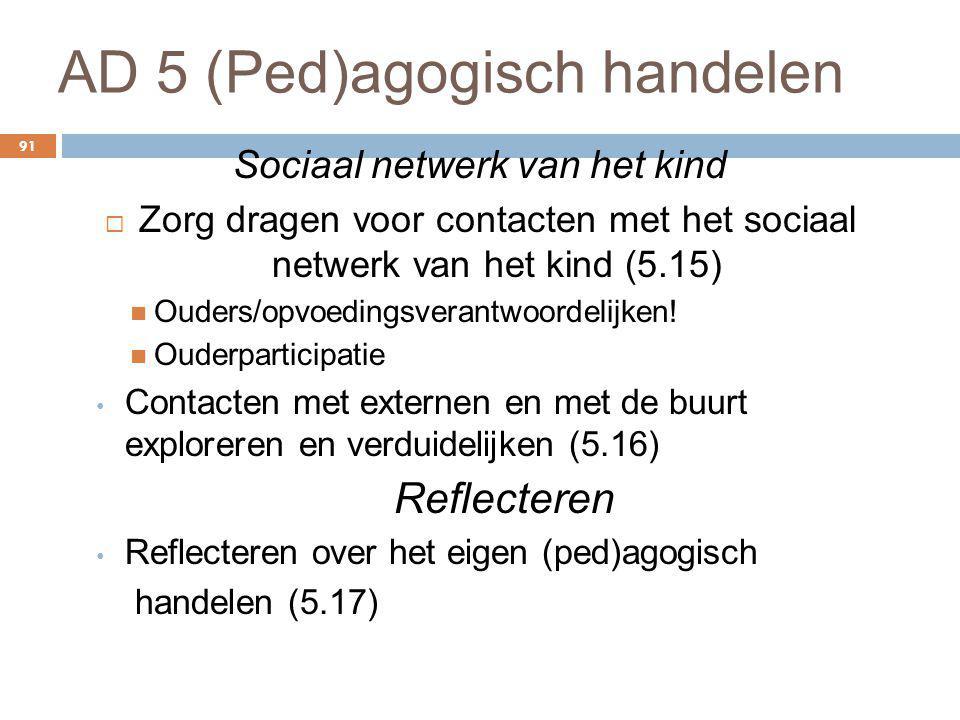 AD 5 (Ped)agogisch handelen 91 Sociaal netwerk van het kind  Zorg dragen voor contacten met het sociaal netwerk van het kind (5.15) Ouders/opvoedings