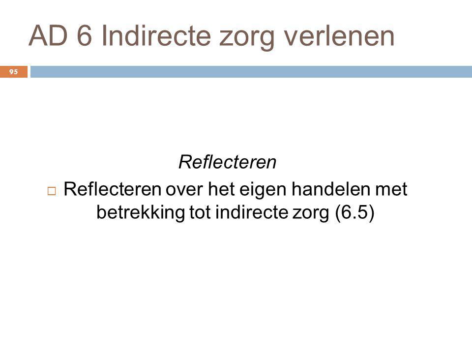 AD 6 Indirecte zorg verlenen 95 Reflecteren  Reflecteren over het eigen handelen met betrekking tot indirecte zorg (6.5)