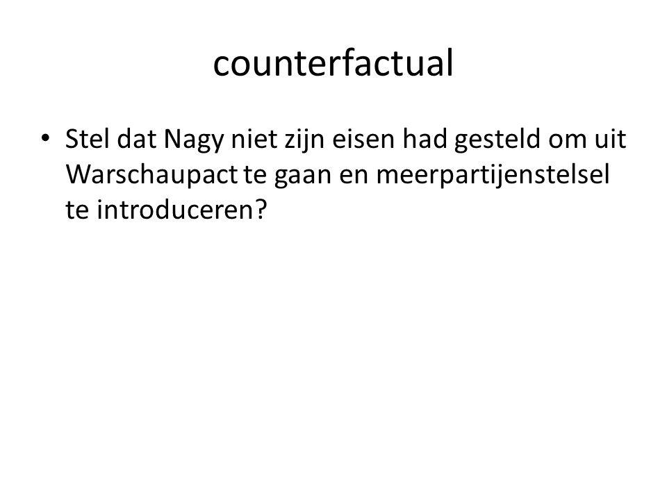 counterfactual Stel dat Nagy niet zijn eisen had gesteld om uit Warschaupact te gaan en meerpartijenstelsel te introduceren?