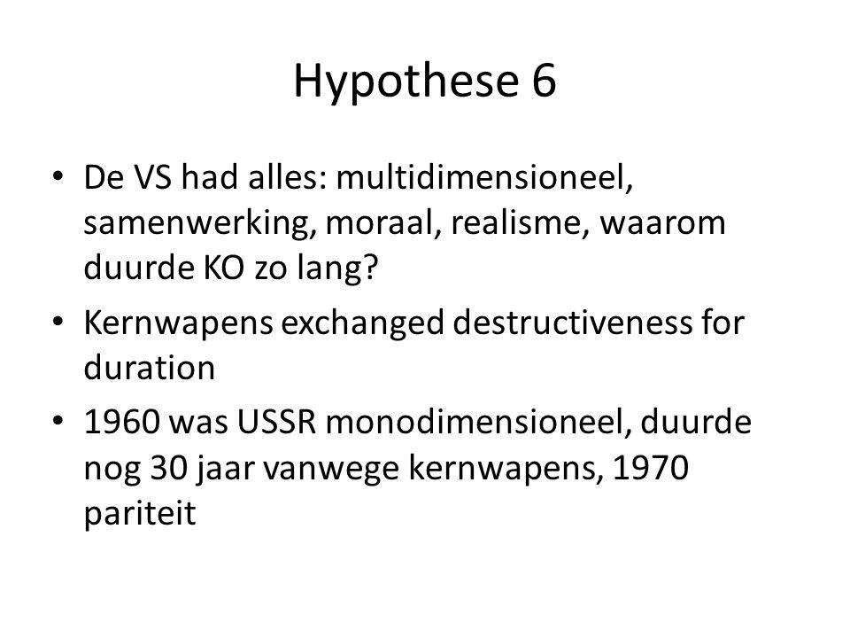 Hypothese 6 De VS had alles: multidimensioneel, samenwerking, moraal, realisme, waarom duurde KO zo lang? Kernwapens exchanged destructiveness for dur