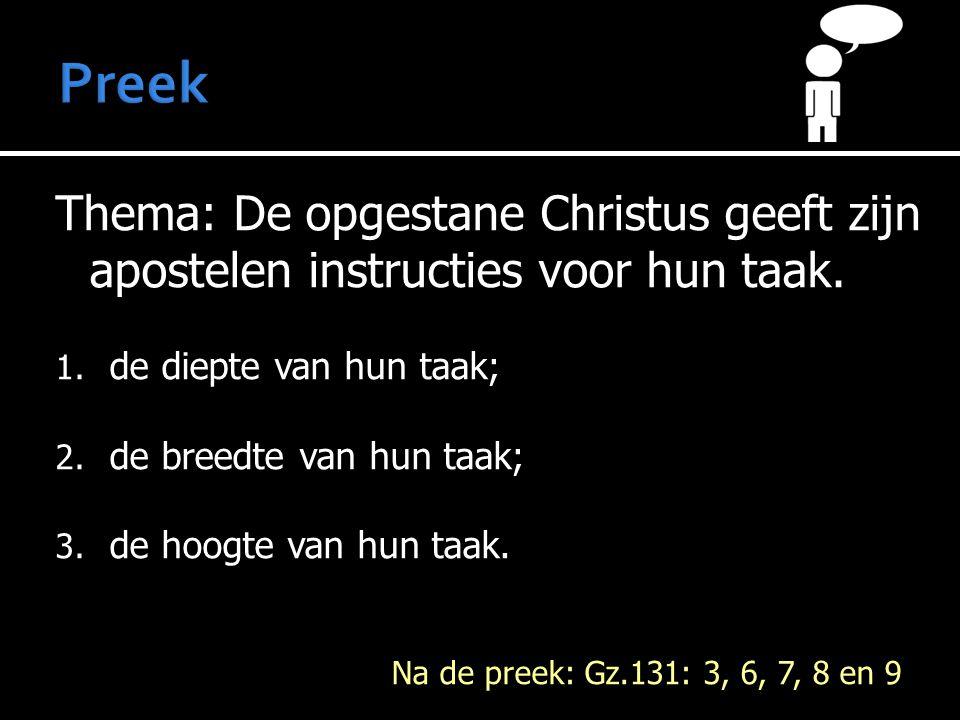 Thema: De opgestane Christus geeft zijn apostelen instructies voor hun taak. 1. de diepte van hun taak; 2. de breedte van hun taak; 3. de hoogte van h