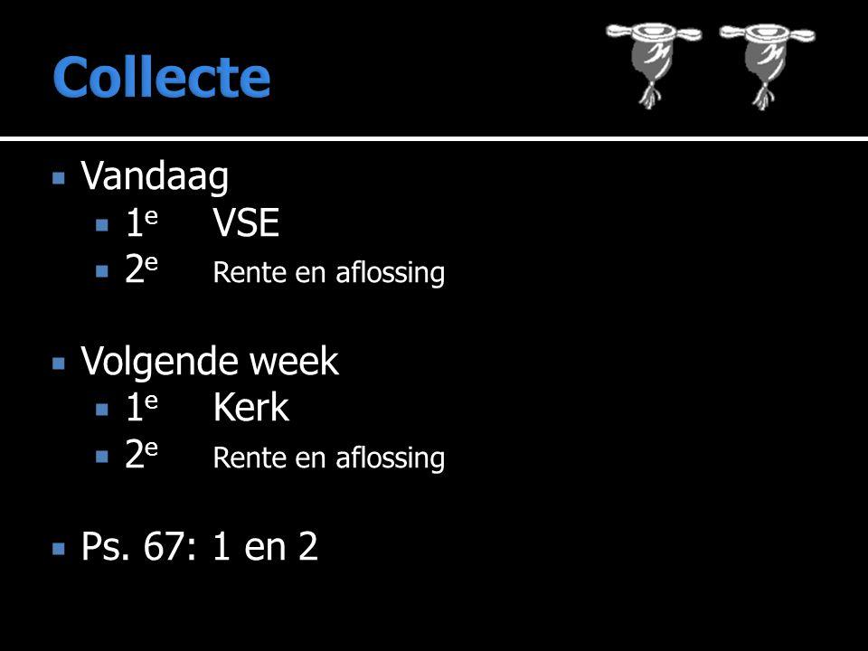  Vandaag  1 e VSE  2 e Rente en aflossing  Volgende week  1 e Kerk  2 e Rente en aflossing  Ps.
