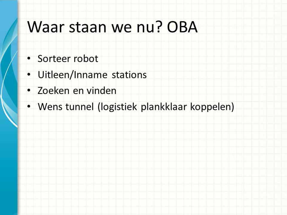 Waar staan we nu? OBA Sorteer robot Uitleen/Inname stations Zoeken en vinden Wens tunnel (logistiek plankklaar koppelen)