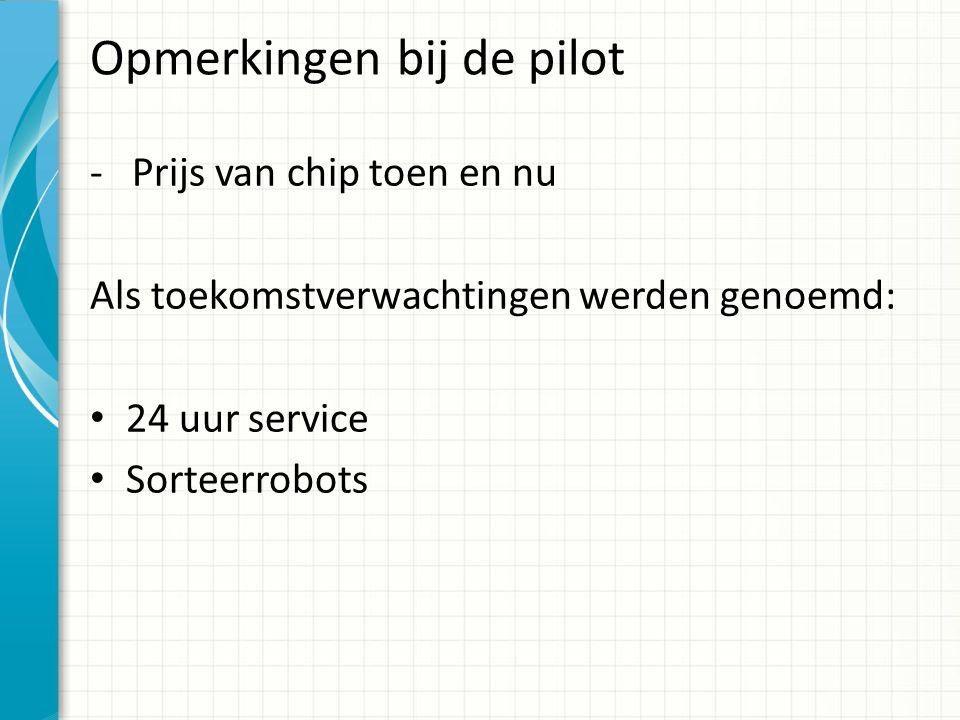 Opmerkingen bij de pilot - Prijs van chip toen en nu Als toekomstverwachtingen werden genoemd: 24 uur service Sorteerrobots