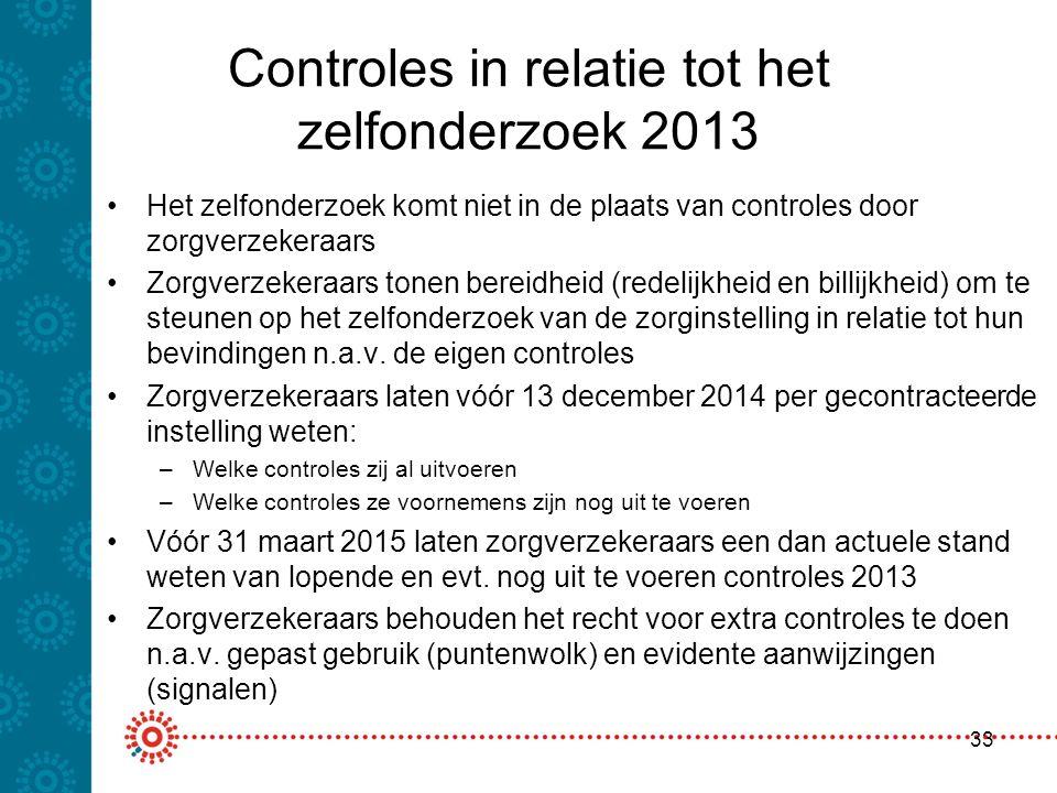 Controles in relatie tot het zelfonderzoek 2013 Het zelfonderzoek komt niet in de plaats van controles door zorgverzekeraars Zorgverzekeraars tonen be