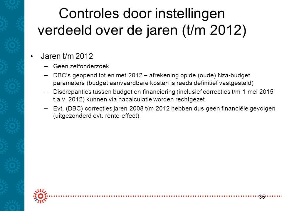 Controles door instellingen verdeeld over de jaren (t/m 2012) Jaren t/m 2012 –Geen zelfonderzoek –DBC's geopend tot en met 2012 – afrekening op de (ou