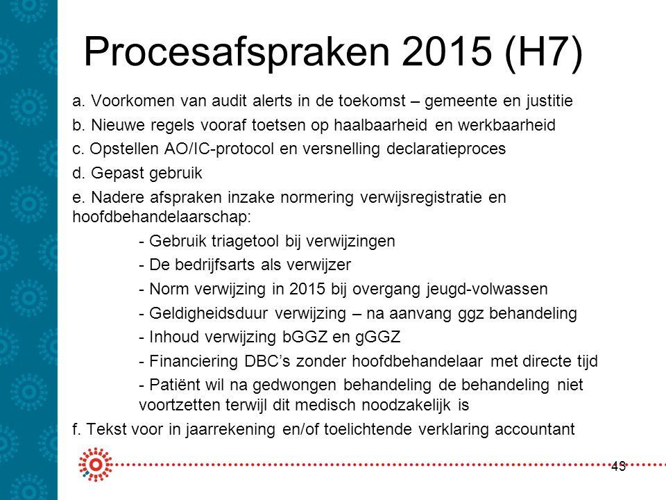 Procesafspraken 2015 (H7) a. Voorkomen van audit alerts in de toekomst – gemeente en justitie b. Nieuwe regels vooraf toetsen op haalbaarheid en werkb