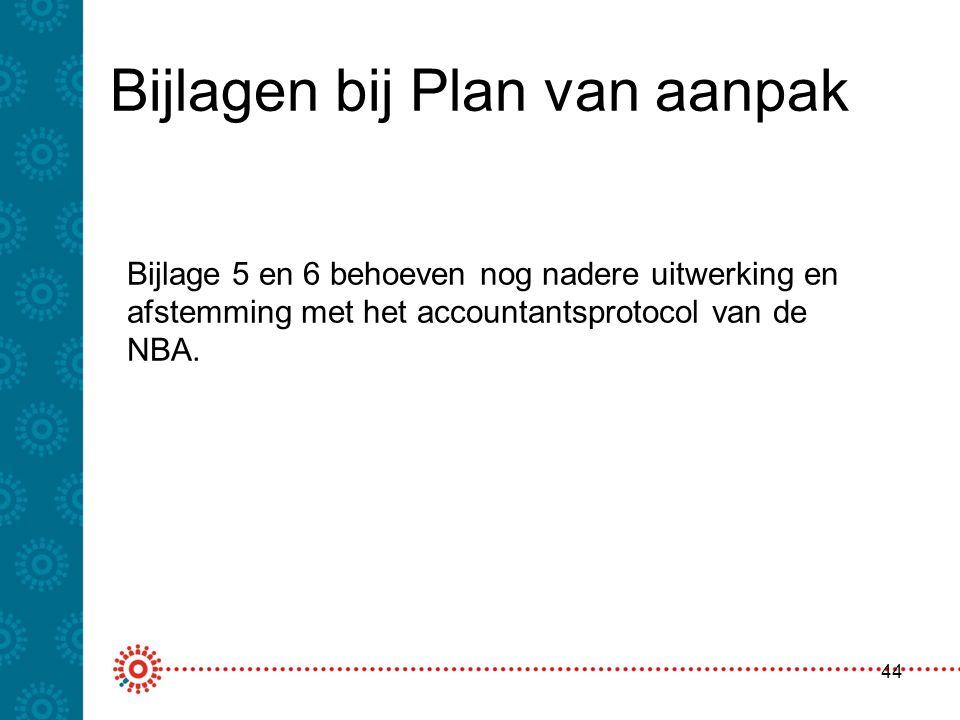 Bijlagen bij Plan van aanpak 44 Bijlage 5 en 6 behoeven nog nadere uitwerking en afstemming met het accountantsprotocol van de NBA.