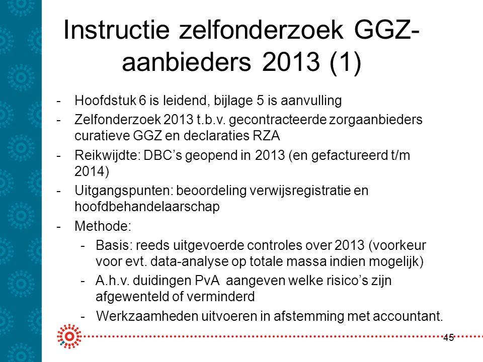 Instructie zelfonderzoek GGZ- aanbieders 2013 (1) 45 -Hoofdstuk 6 is leidend, bijlage 5 is aanvulling -Zelfonderzoek 2013 t.b.v. gecontracteerde zorga
