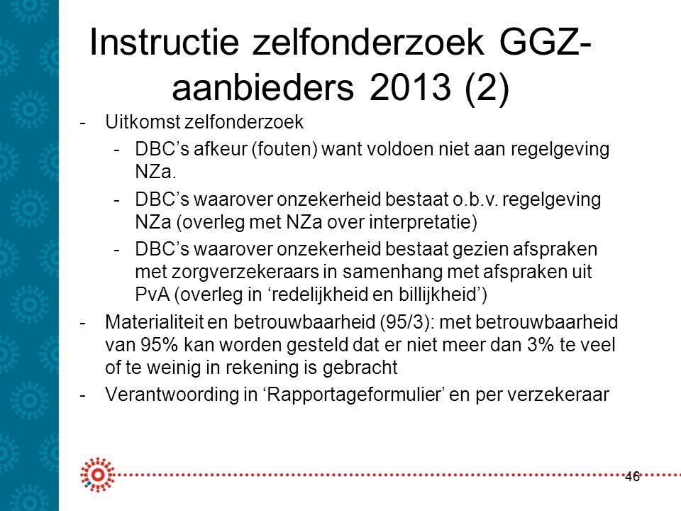 Instructie zelfonderzoek GGZ- aanbieders 2013 (2) 46 -Uitkomst zelfonderzoek -DBC's afkeur (fouten) want voldoen niet aan regelgeving NZa. -DBC's waar