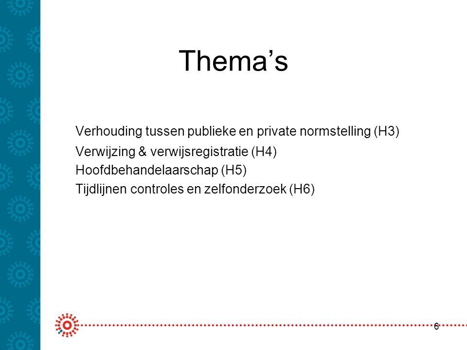 Thema's Verhouding tussen publieke en private normstelling (H3) Verwijzing & verwijsregistratie (H4) Hoofdbehandelaarschap (H5) Tijdlijnen controles e