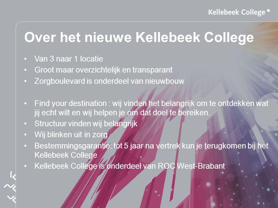 Over het nieuwe Kellebeek College Van 3 naar 1 locatie Groot maar overzichtelijk en transparant Zorgboulevard is onderdeel van nieuwbouw Find your des