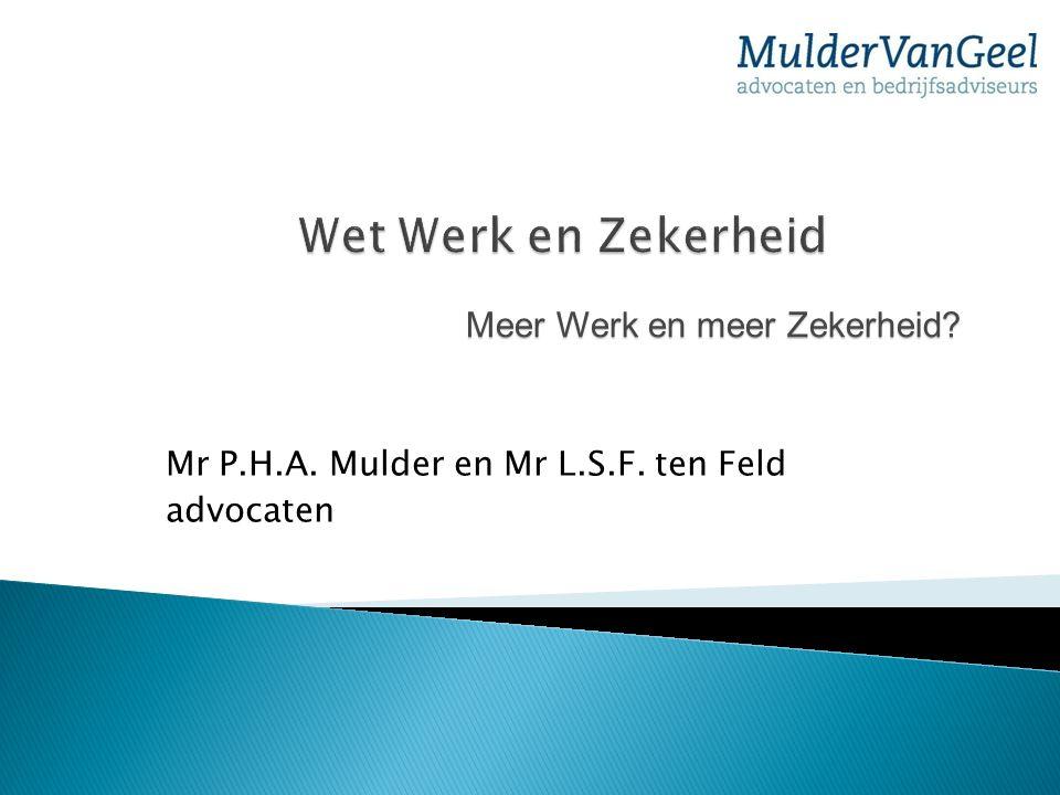 Mr P.H.A. Mulder en Mr L.S.F. ten Feld advocaten Meer Werk en meer Zekerheid?