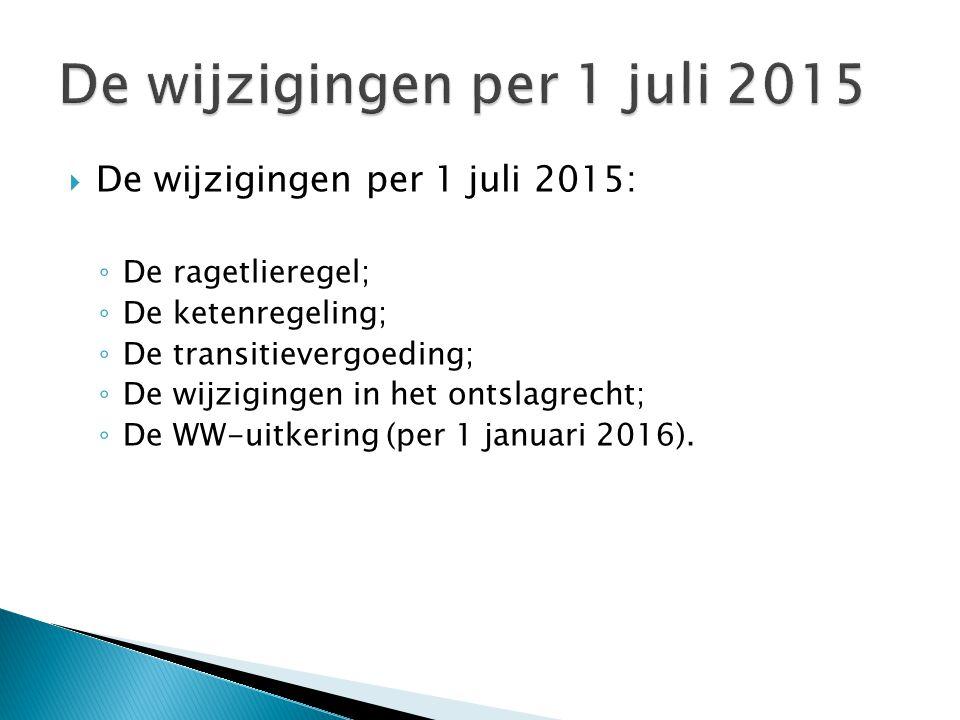  De wijzigingen per 1 juli 2015: ◦ De ragetlieregel; ◦ De ketenregeling; ◦ De transitievergoeding; ◦ De wijzigingen in het ontslagrecht; ◦ De WW-uitk