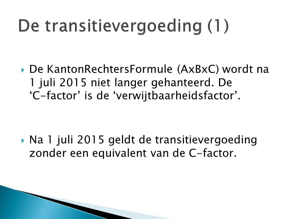  De KantonRechtersFormule (AxBxC) wordt na 1 juli 2015 niet langer gehanteerd. De 'C-factor' is de 'verwijtbaarheidsfactor'.  Na 1 juli 2015 geldt d