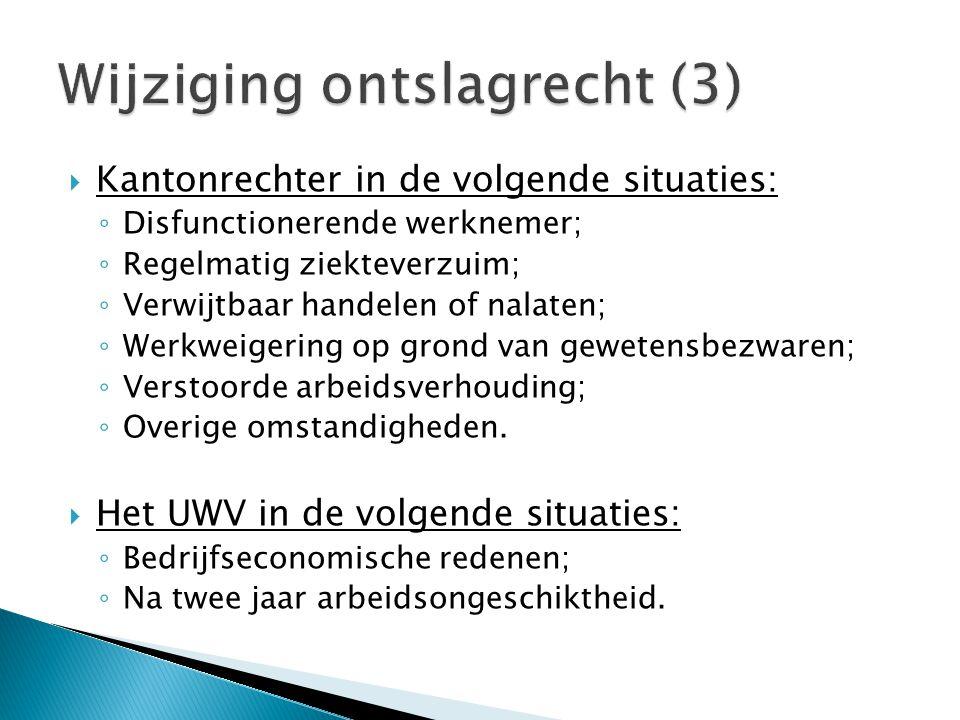  Kantonrechter in de volgende situaties: ◦ Disfunctionerende werknemer; ◦ Regelmatig ziekteverzuim; ◦ Verwijtbaar handelen of nalaten; ◦ Werkweigerin