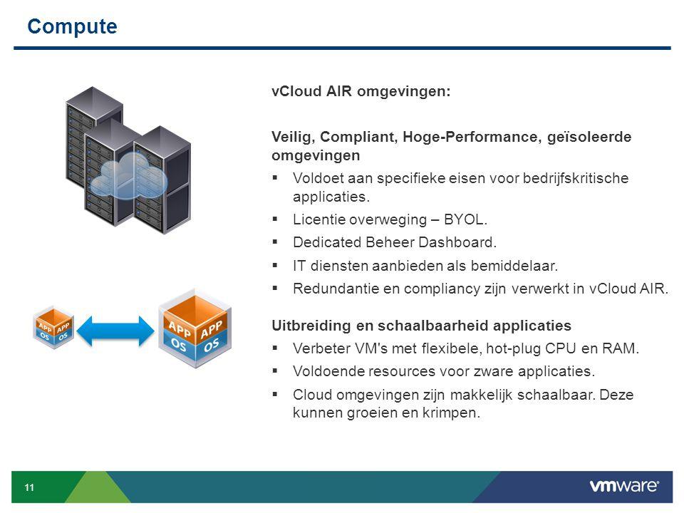 11 Confidential Compute vCloud AIR omgevingen: Veilig, Compliant, Hoge-Performance, geïsoleerde omgevingen  Voldoet aan specifieke eisen voor bedrijf