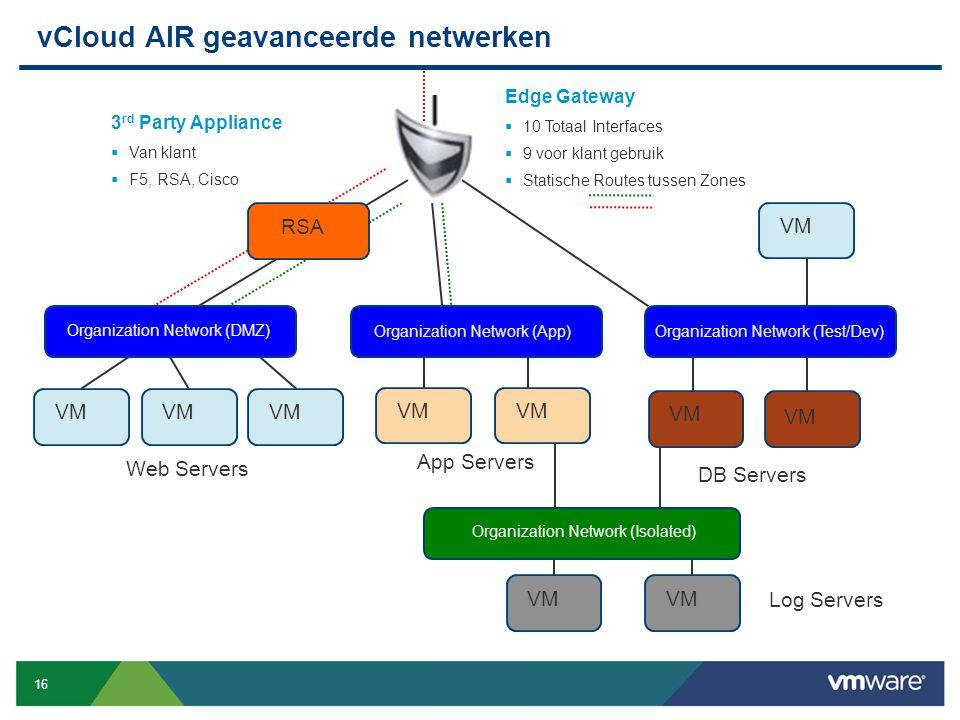16 Confidential vCloud AIR geavanceerde netwerken VM Web Servers VM App Servers DB Servers Organization Network (DMZ) Org Net 1 VM Log Servers RSA Edg