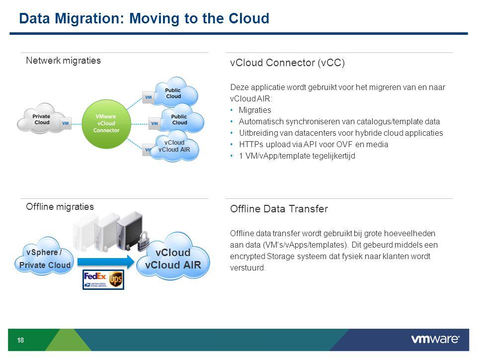 18 Confidential Netwerk migraties vCloud Connector (vCC) Deze applicatie wordt gebruikt voor het migreren van en naar vCloud AIR: Migraties Automatisc