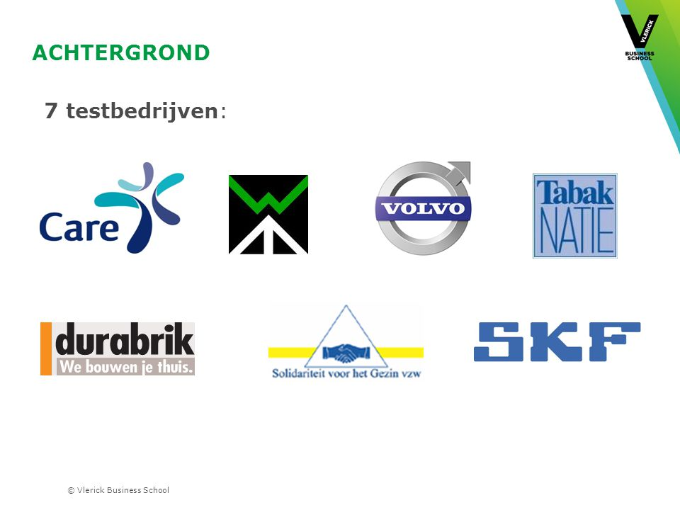 © Vlerick Business School ACHTERGROND 7 testbedrijven: