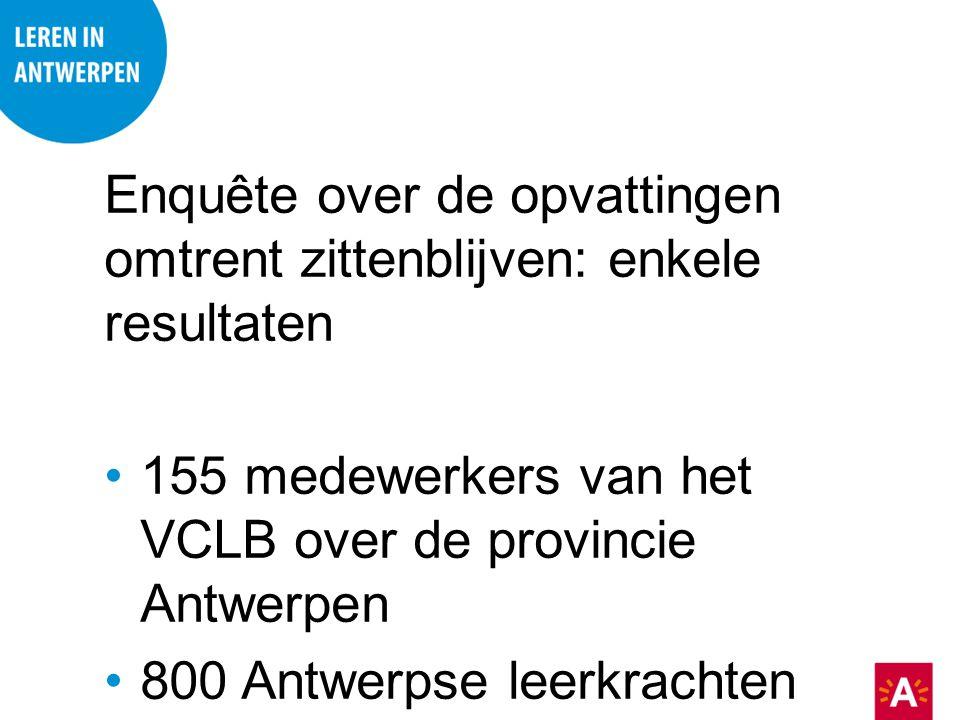 Enquête over de opvattingen omtrent zittenblijven: enkele resultaten 155 medewerkers van het VCLB over de provincie Antwerpen 800 Antwerpse leerkracht