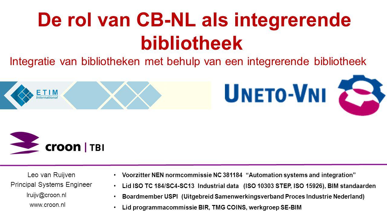 De rol van CB-NL als integrerende bibliotheek Integratie van bibliotheken met behulp van een integrerende bibliotheek Leo van Ruijven Principal System