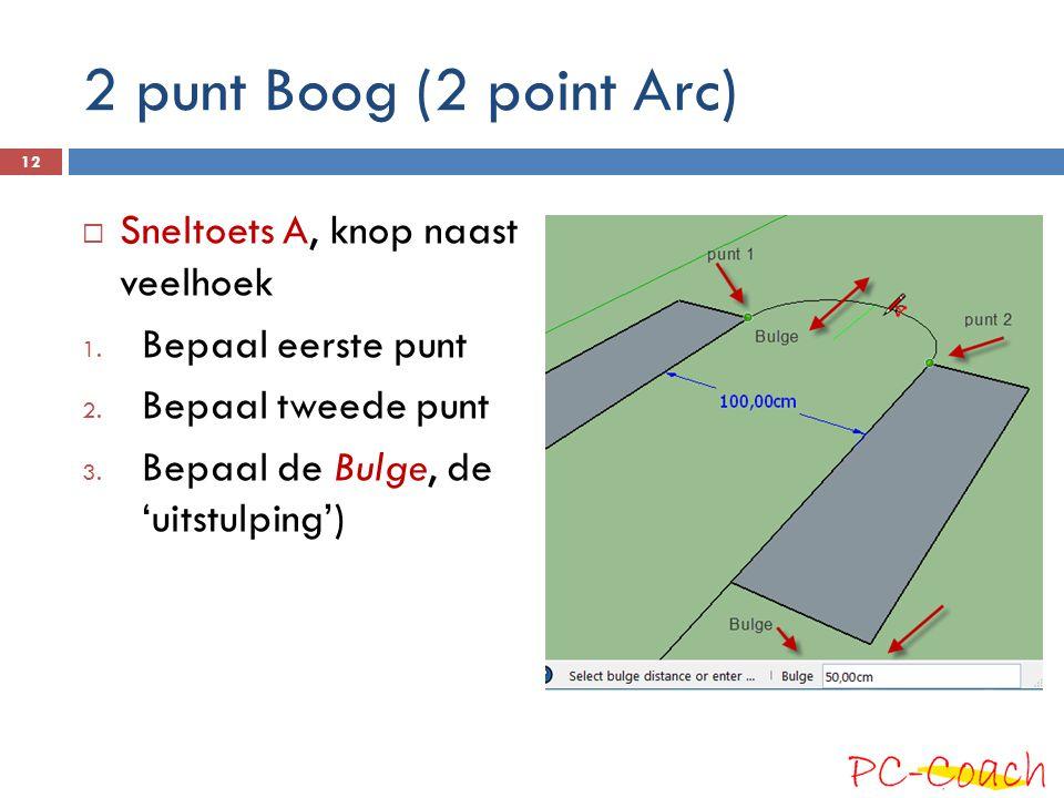 2 punt Boog (2 point Arc)  Sneltoets A, knop naast veelhoek 1. Bepaal eerste punt 2. Bepaal tweede punt 3. Bepaal de Bulge, de 'uitstulping') 12