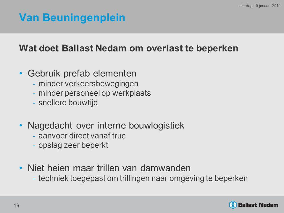 Van Beuningenplein Wat doet Ballast Nedam om overlast te beperken Gebruik prefab elementen -minder verkeersbewegingen -minder personeel op werkplaats