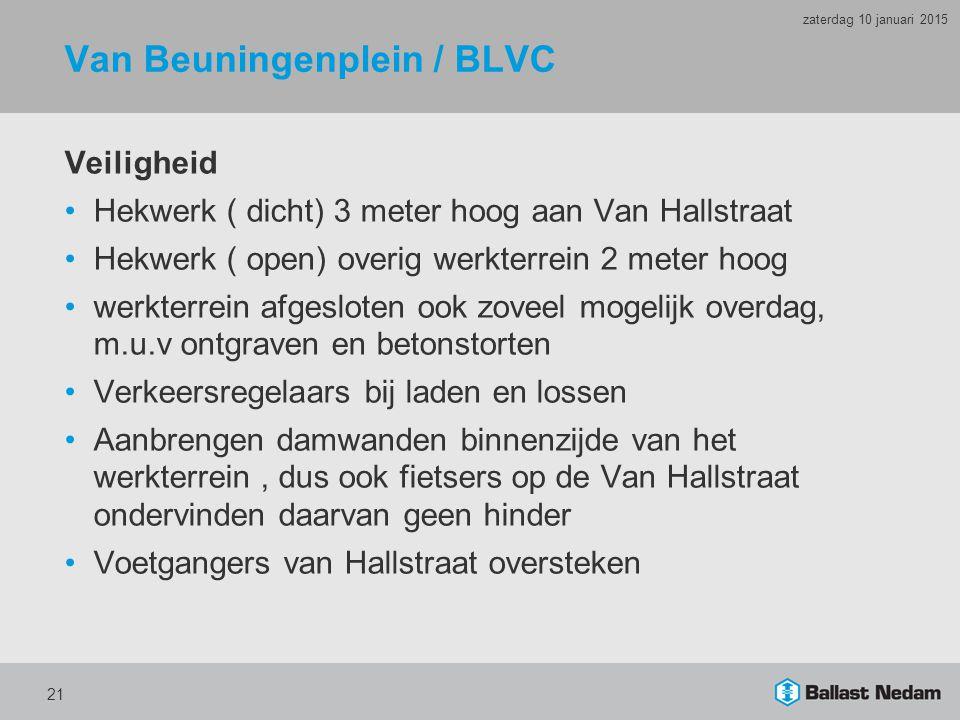 Van Beuningenplein / BLVC Veiligheid Hekwerk ( dicht) 3 meter hoog aan Van Hallstraat Hekwerk ( open) overig werkterrein 2 meter hoog werkterrein afge