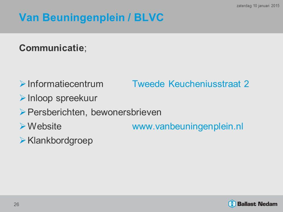 Van Beuningenplein / BLVC Communicatie;  InformatiecentrumTweede Keucheniusstraat 2  Inloop spreekuur  Persberichten, bewonersbrieven  Website www.vanbeuningenplein.nl  Klankbordgroep 26 zaterdag 10 januari 2015