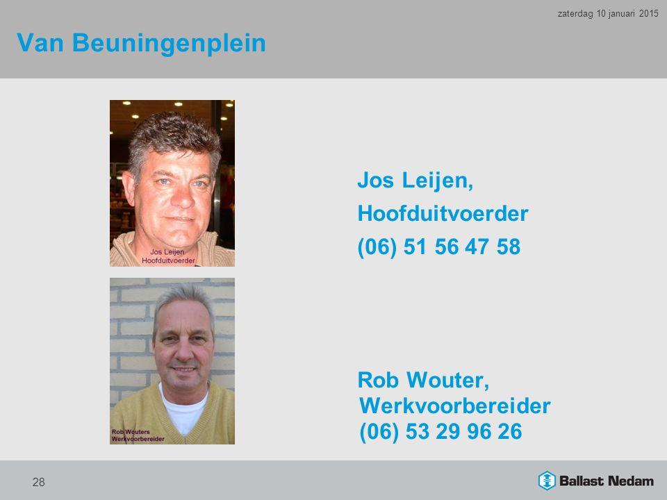 Van Beuningenplein Jos Leijen, Hoofduitvoerder (06) 51 56 47 58 Rob Wouter, Werkvoorbereider (06) 53 29 96 26 28 zaterdag 10 januari 2015