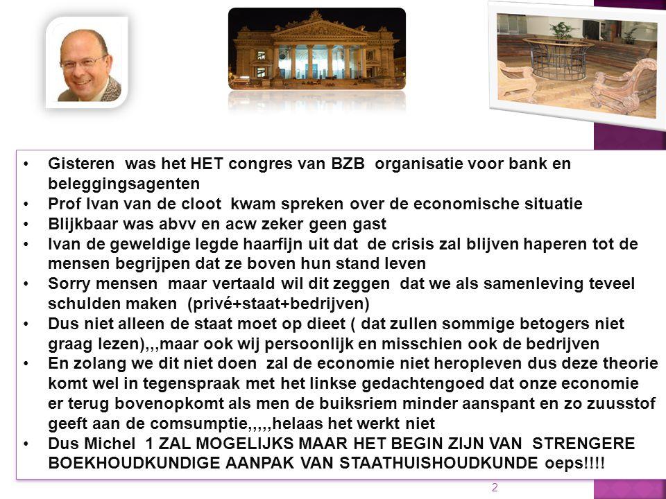 10/01/2015 2 Gisteren was het HET congres van BZB organisatie voor bank en beleggingsagenten Prof Ivan van de cloot kwam spreken over de economische s