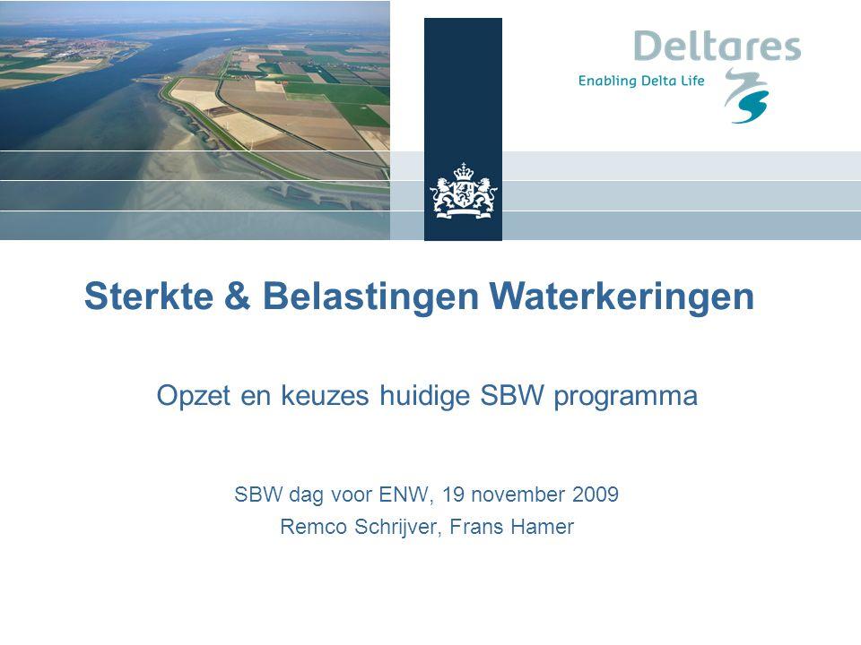 Sterkte & Belastingen Waterkeringen Opzet en keuzes huidige SBW programma SBW dag voor ENW, 19 november 2009 Remco Schrijver, Frans Hamer Frans Hamer, 16 september 2008