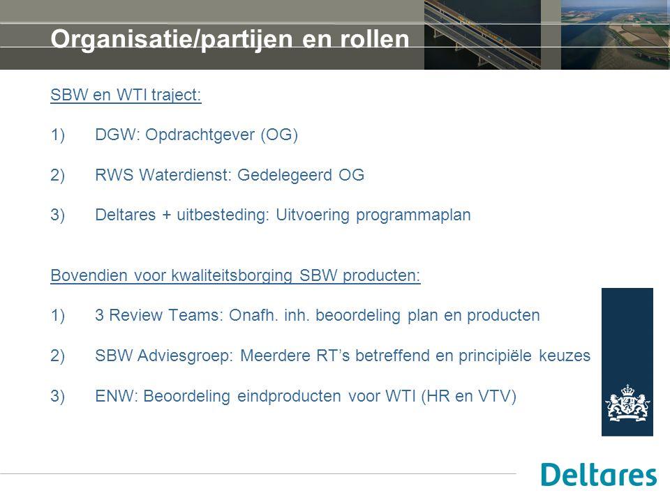 Organisatie/partijen en rollen SBW en WTI traject: 1)DGW: Opdrachtgever (OG) 2)RWS Waterdienst: Gedelegeerd OG 3)Deltares + uitbesteding: Uitvoering programmaplan Bovendien voor kwaliteitsborging SBW producten: 1)3 Review Teams: Onafh.