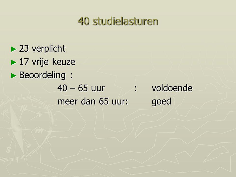 40 studielasturen ► 23 verplicht ► 17 vrije keuze ► Beoordeling : 40 – 65 uur : voldoende meer dan 65 uur:goed