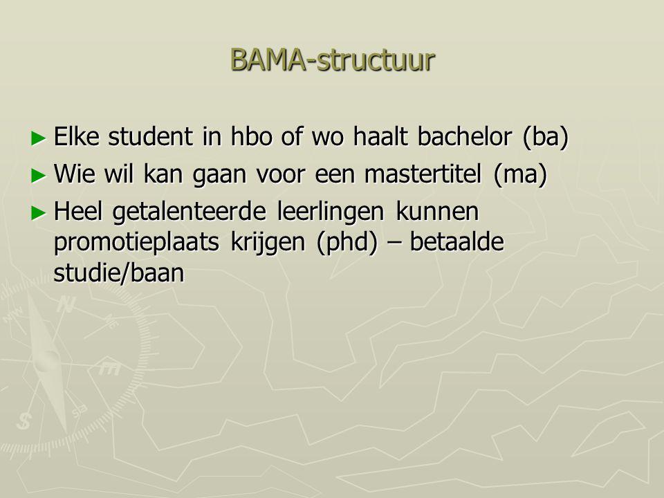 BAMA-structuur ► Elke student in hbo of wo haalt bachelor (ba) ► Wie wil kan gaan voor een mastertitel (ma) ► Heel getalenteerde leerlingen kunnen pro