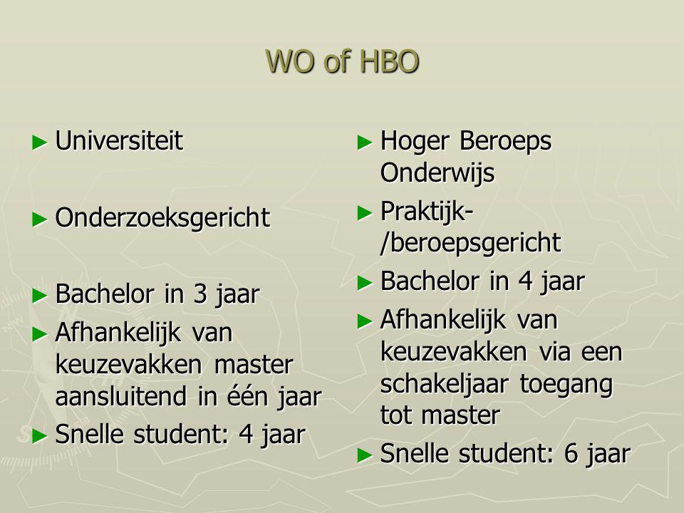 WO of HBO ► Universiteit ► Onderzoeksgericht ► Bachelor in 3 jaar ► Afhankelijk van keuzevakken master aansluitend in één jaar ► Snelle student: 4 jaa