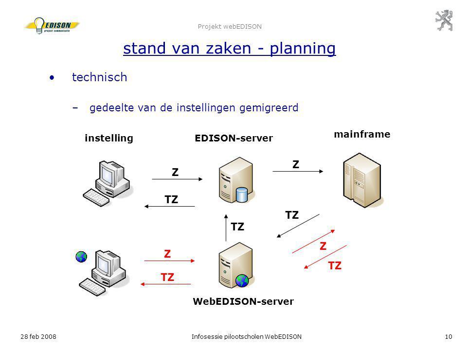 28 feb 2008Infosessie pilootscholen WebEDISON10 Projekt webEDISON stand van zaken - planning technisch –gedeelte van de instellingen gemigreerd instel
