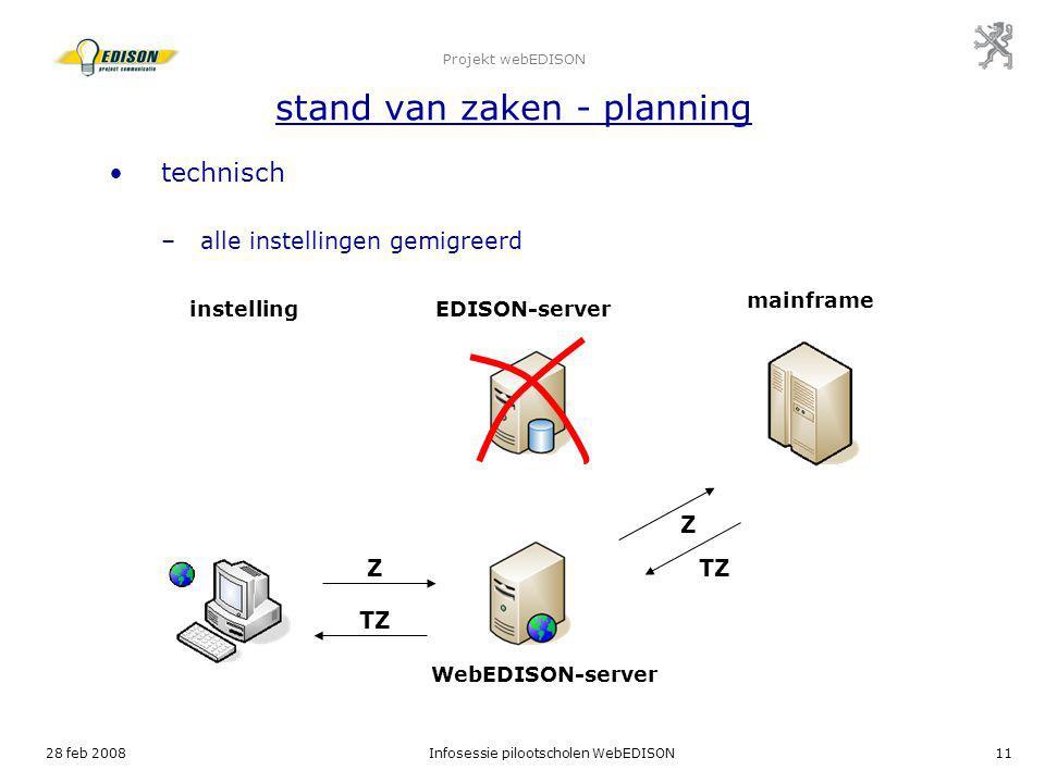 28 feb 2008Infosessie pilootscholen WebEDISON11 Projekt webEDISON stand van zaken - planning technisch –alle instellingen gemigreerd instellingEDISON-