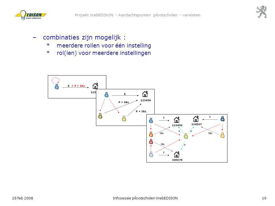 28 feb 2008Infosessie pilootscholen WebEDISON19 Projekt WebEDISON - Aandachtspunten pilootscholen - vereisten –combinaties zijn mogelijk : *meerdere r
