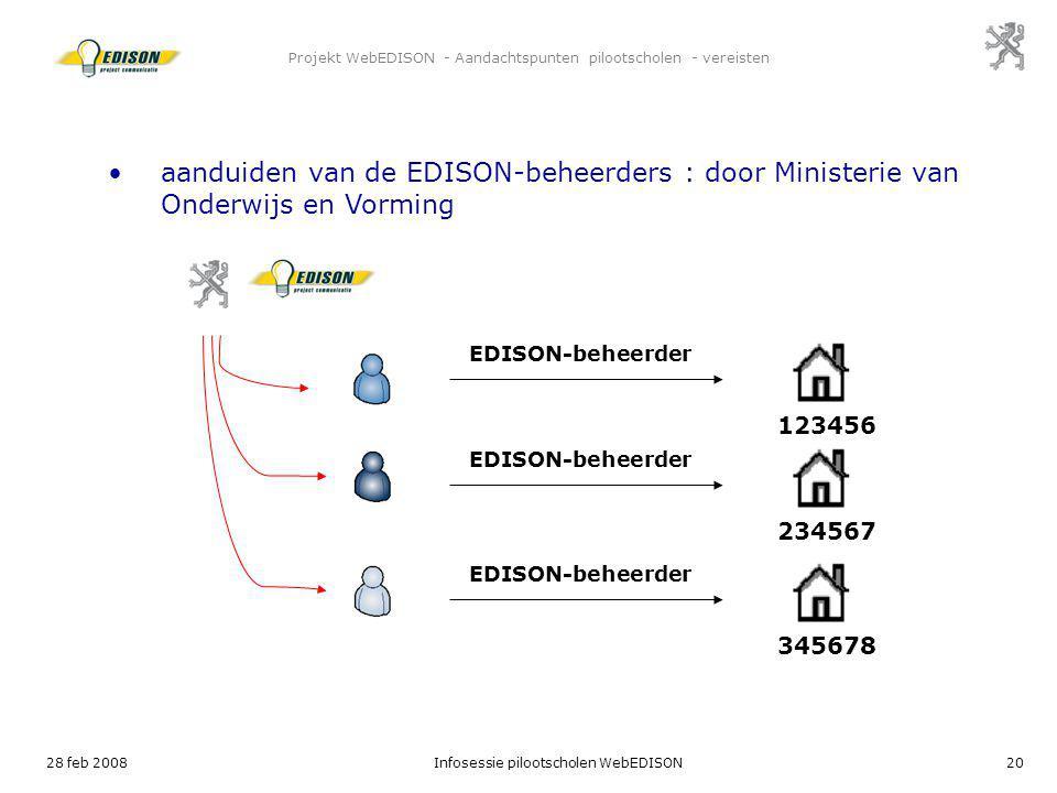 28 feb 2008Infosessie pilootscholen WebEDISON20 Projekt WebEDISON - Aandachtspunten pilootscholen - vereisten EDISON-beheerder aanduiden van de EDISON