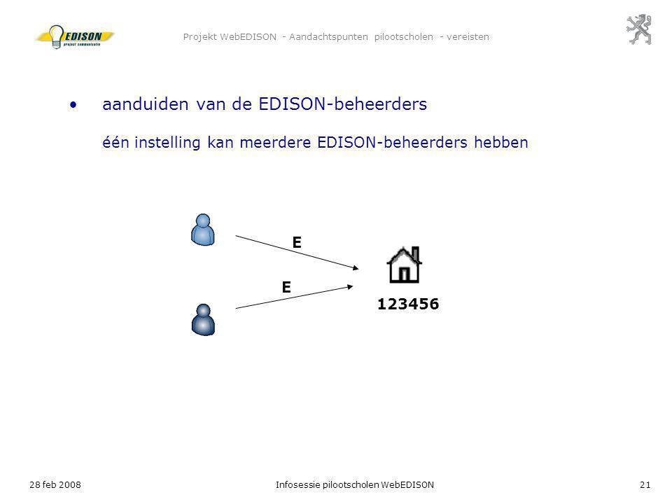 28 feb 2008Infosessie pilootscholen WebEDISON21 Projekt WebEDISON - Aandachtspunten pilootscholen - vereisten E 123456 aanduiden van de EDISON-beheerd